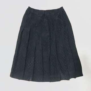 CLEARANCE - black pleated polka dot midi skirt