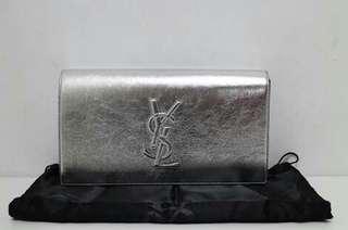 💯👝YSL Silver Clutch Bag
