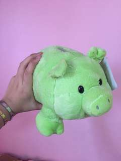 Green Pig Coin Bank plushie