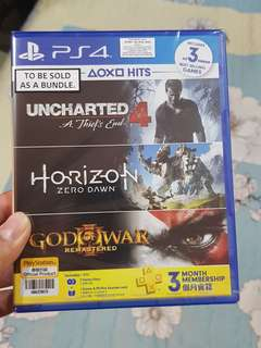 Ps4 Game 3 In 1 Uncharted 4 Horizon Gow3 bundle + ps+ 3months