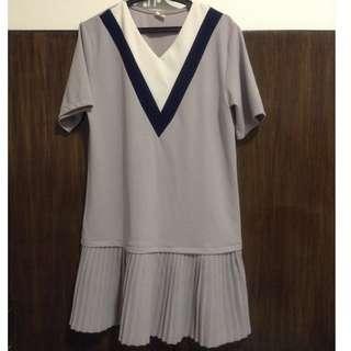 Blue-Gray V-Neck Dress, Pleated Skirt Detail