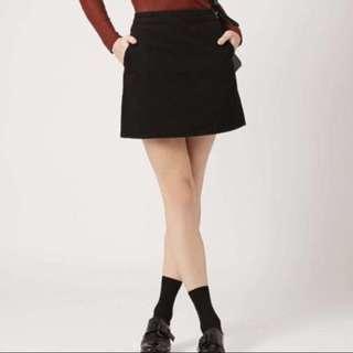 Topshop Moto Washed Black denim skirt