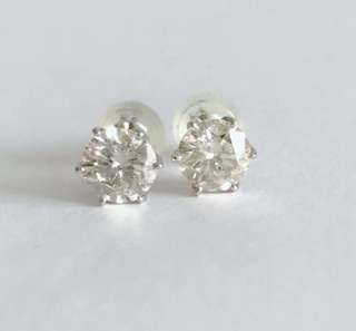 Platinum 900 Diamond Stud Earrings .50ct each