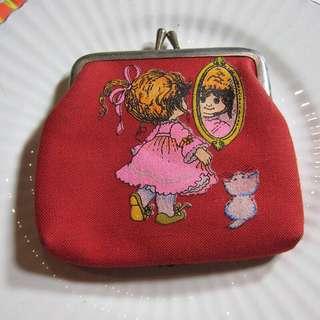 VINTAGE 古著 罕有 早期 老品 全新庫存 紅色 小女孩 的 散紙包 / coins bag / 零錢包