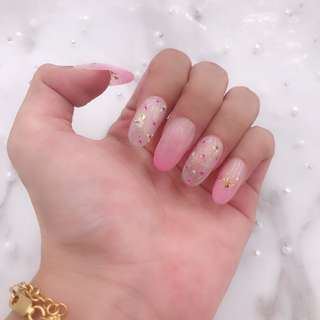 Floral Gel False Nail Manicure