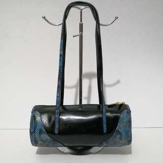 Coloris Patent Leather and Stamped Snakeskin Leather Barrel Bag - Made in France