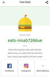 Free $15 Uber eats