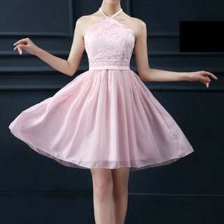 Chiffon Lace Pink Short Dress Bridesmaid Dress (FREE flower wrist band)