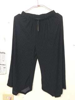 🚚 黑色線條寬褲 吊牌還在
