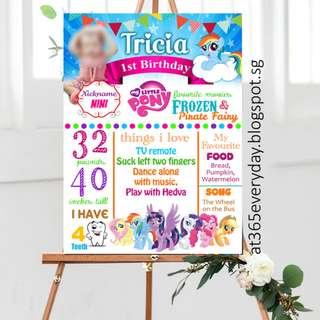 My Little Pony Milestone Board, Chalkboard, Foamboard, Banner
