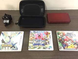 Nintendo 3DS XL, adapter, case and 3 games