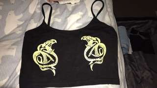 Twin dragon black crop top