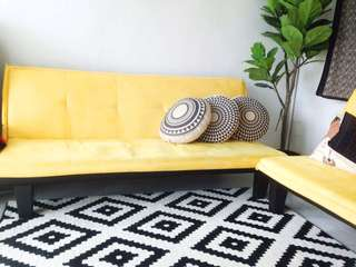 Sofa bed 3 seater Yellow