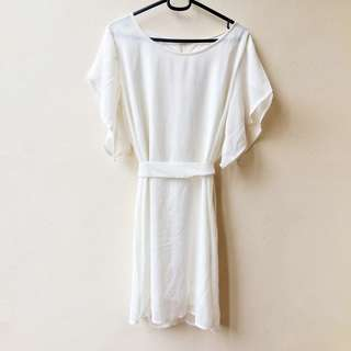 White Angel Dress w/ Flutter Sleeves