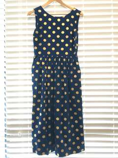 Gorman navy with gold polka dots