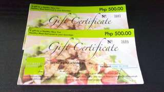 Gift Certificate fitness gourmet
