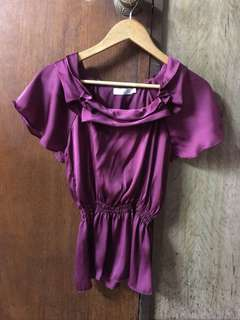 satin blouse maroon