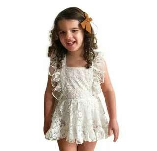 🚚 Newborn lace ruffle sunsuit