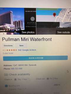 2 nights stay at Pullman Miri Waterfront Sarawak Hotel Voucher