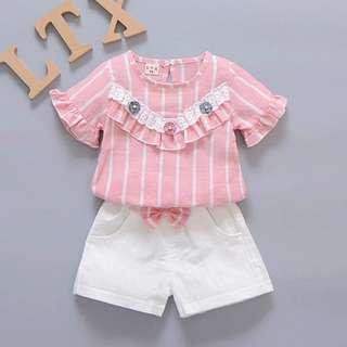 Girl Pink Shirt and Short Casual