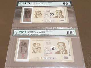 1965/2015 SG50 Singapore $50 Commemorative (Limited Edition) with Auspicious Serial Number 003217 / 003218 [[ 生意要发 ]] in Brand New Original Mint Uncirculated Condition (UNC) with 66EPQ