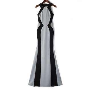Grey Slim Maxi Dress