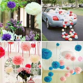 "HKA0213L5 - (SALE) 13.5"" Paper Flower Tissue Ball Party Decor"