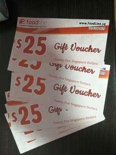Foodline voucher $25, $1 each,  Postage fee 30cents