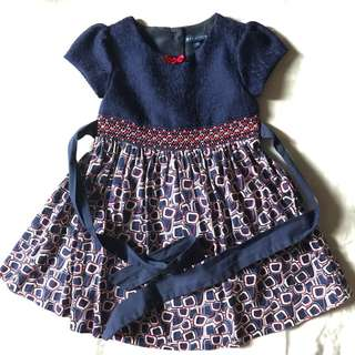 Periwinkle Navy Blue doll dress