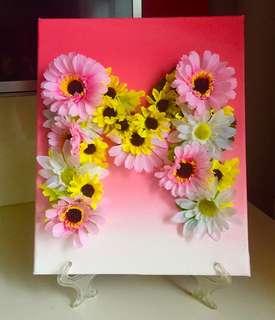 Customised Alphabet Flower on Canvas