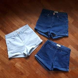 F21 Cuffed Denim Shorts