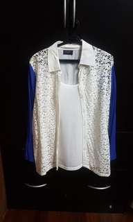Apple & Eve White & Blue Top (free inner top)