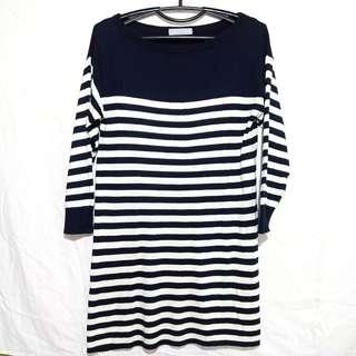 M&S Striped Boat Neck Dress