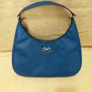 Salvatore Ferragamo 藍色皮手袋