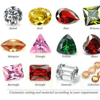 polished and rough diamonds