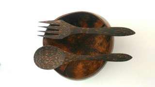 Coconut bowl + cutlery + straw