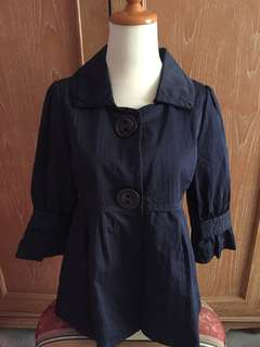 [Preloved] blouse / outer biru donker