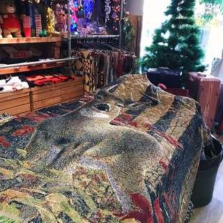 💙🦖 美式休閒線布 萬用毯野餐巾沙發巾裝飾掛畫 森林 靈鹿 療癒