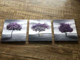 Canvas Print 3 Panels PURPLE TREES Modern Landscape Framed Canvas Wall Art