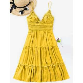 Mustard yellow mini dress