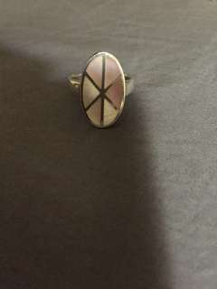 Repriced Pure Silver Ring with Pink Pearl Sheets