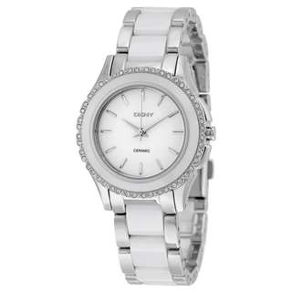 WHITE DIAL STAINLESS STEEL WHITE CERAMIC LADIES WATCH NY8818