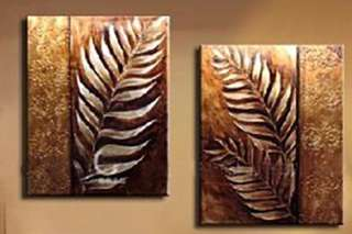 Luxury Handmade 2 Panel Golden Leaves Modern Contemporary Abstract Oil Painting on Canvas Wall Art Nature Leaf Pictures