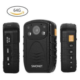 498.Smonet 1296P HD Police Body Camera, Multi-functional Body Worn Camera with 32GB Memory
