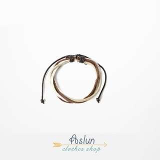 【aslun原創】歐美手繩日系古著複古可調節皮條手镯男閨蜜女手環情侶手鏈