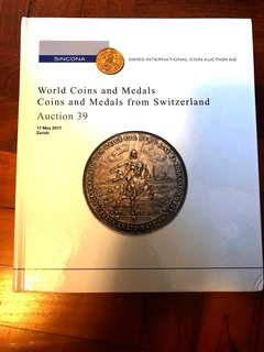 SINCONA World Numismatic Coins & Medals Auction 39 Hardcover Catalogue Literature (400 Pages) Very-New Condition!
