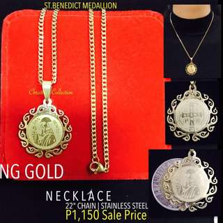 hong Kong Gold 24k St. Benedict Necklace