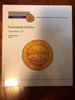 SINCONA World Numismatic Coins Banknotes & Medals Auction 25 Hardcover Catalogue Literature (490 Pages) Very-New Condition!
