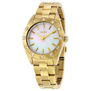 WHITE MOTHER OF PEARL DIAL STAINLESS STEEL BRACELET LADIES WATCH NY8661