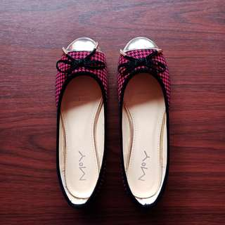 Korean Size 37 Black & Red Plaid / Gingham Doll Shoes / Flats